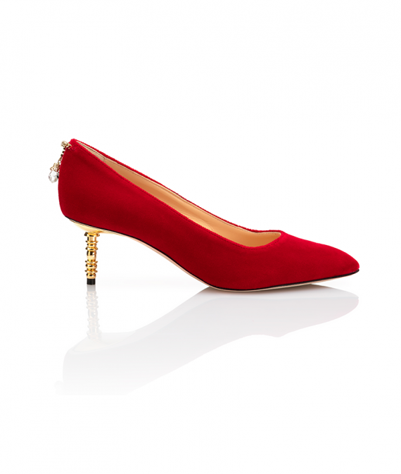 Jacqueline Pump Low Heel Red